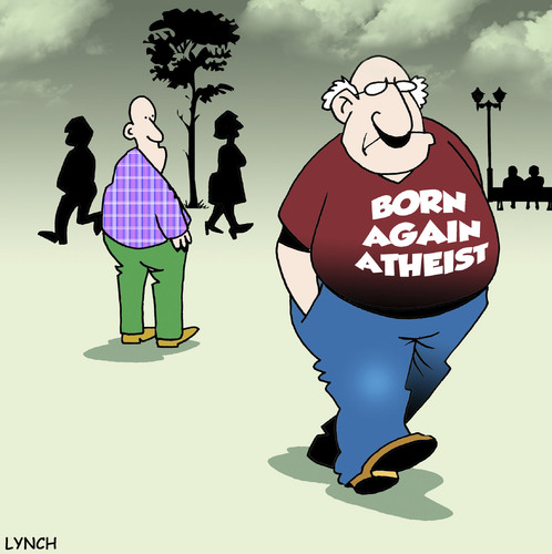 Cartoon: Born again Atheist (medium) by toons tagged atheist,atheism,god,religion,born,again,christian,heaven,afterlife,hell,death,christianity,church
