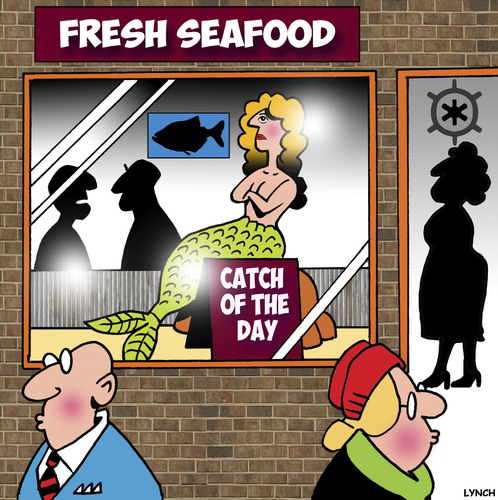 Cartoon: Catch of the day (medium) by toons tagged mermaid,fish,seafood,retail,shopping,catch,of,the,day,fresh,mermaid,fish,seafood,retail,shopping,catch,of,the,day,fresh