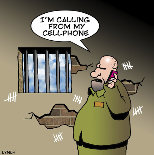 Cartoon: cellphone (medium) by toons tagged facebook,google,prison,iphone,networking,media,social,phone,mobilr,cellphone