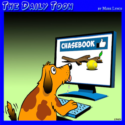 Cartoon: Chasebook (medium) by toons tagged dogs,chasing,sticks,facebook,mans,best,friend,animals,social,media,instagram,dogs,chasing,sticks,facebook,mans,best,friend,animals,social,media,instagram