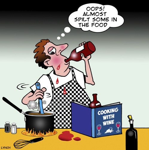 Cartoon: Cooking with wine (medium) by toons tagged cooking,chef,wine,alcohol,master,cook,alcoholic,ingredients,menu,recipe,drunk,cooking,chef,wine,alcohol,master,cook,alcoholic,ingredients,menu,recipe,drunk