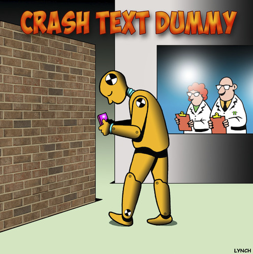 Cartoon: Crash text dummy (medium) by toons tagged crash,test,dummy,texting,text,while,driving,crash,test,dummy,texting,text,while,driving