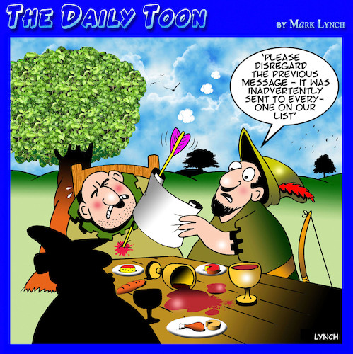 Cartoon: Disregard previous message (medium) by toons tagged messaging,sherwood,forest,robin,hood,texting,archery,messaging,sherwood,forest,robin,hood,texting,archery