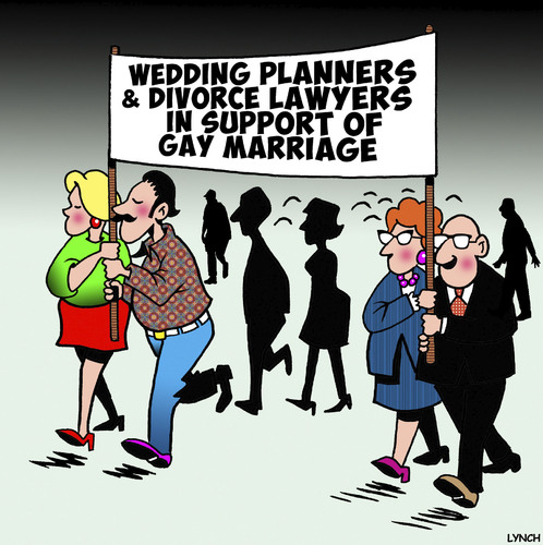 Cartoon: Gay marriage (medium) by toons tagged gay,marriage,wedding,planners,divorce,lawyers,mardi,gras,protest,march,gay,marriage,wedding,planners,divorce,lawyers,mardi,gras,protest,march