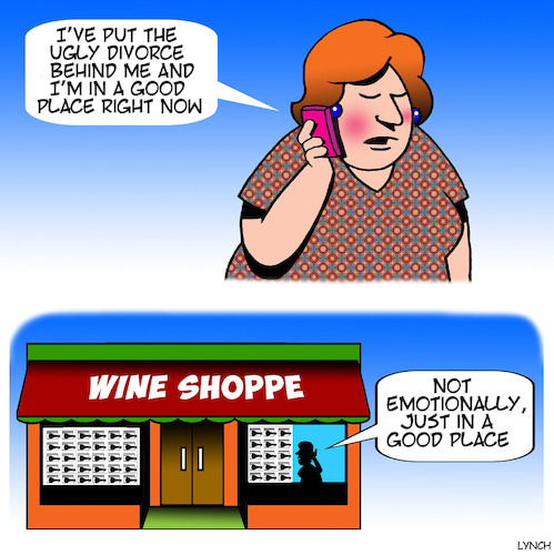 Cartoon: Good place (medium) by toons tagged wine,store,alcohol,psychiatric,problems,stress,sales,wine,store,alcohol,psychiatric,problems,stress,sales