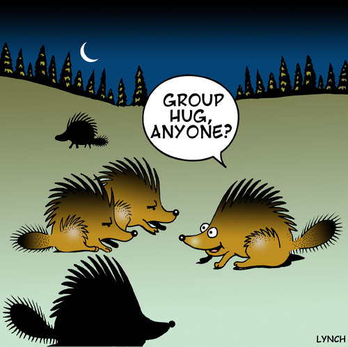 Cartoon: group hug (medium) by toons tagged group,hug,hedgehogs,animals,love