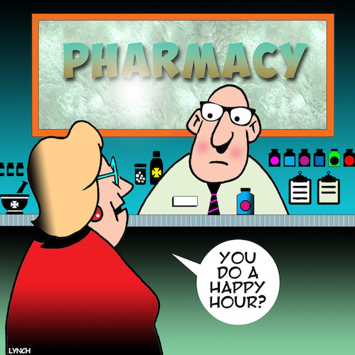 Cartoon: Happy hour (medium) by toons tagged pharmacy,chemist,happy,hour,prescriptions,drugs,prozac,valium,pharmacy,chemist,happy,hour,prescriptions,drugs,prozac,valium