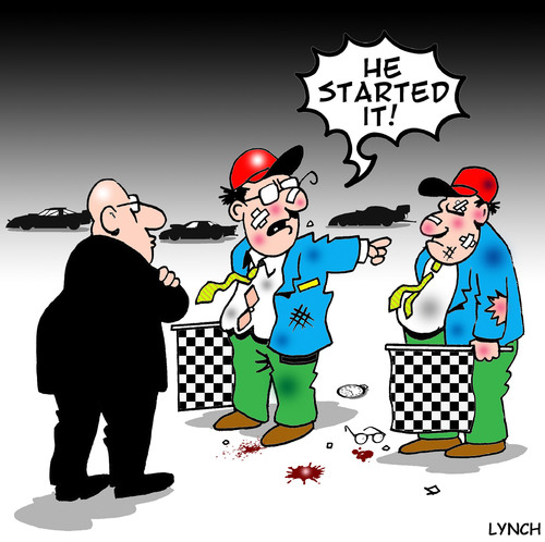 Cartoon: he started it (medium) by toons tagged car,racing,chequered,flag,drag,motor,f1,ferrari,v8,fighting,brawl,disagreements