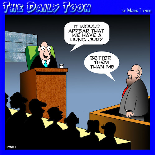 Cartoon: Hung jury (medium) by toons tagged jury,hanging,capital,punishment,trial,by,courthouse,judge,prisoner,defendant,jury,hanging,capital,punishment,trial,by,courthouse,judge,prisoner,defendant