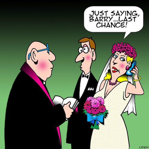 Cartoon: Last chance (medium) by toons tagged old,boyfriends,weddings,wedding,vows,old,boyfriends,weddings,wedding,vows