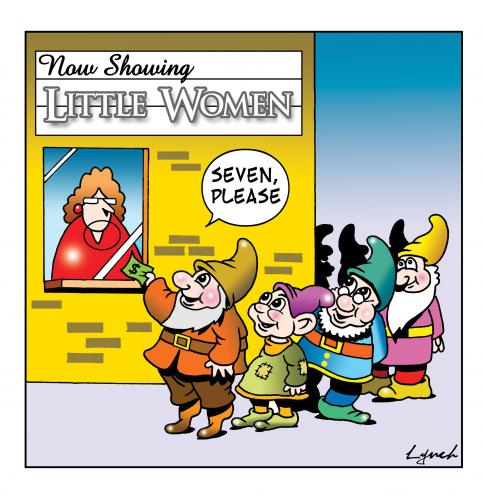 Cartoon: little women (medium) by toons tagged little,women,seven,dwarfs,books,movies,library,snow,white,short,people,cinema