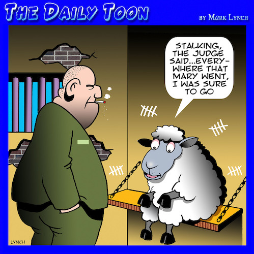 Cartoon: Mary had a little lamb (medium) by toons tagged nursery,rhymes,fairy,tales,sheep,animals,jail,prison,stalking,prisoners,nursery,rhymes,fairy,tales,sheep,animals,jail,prison,stalking,prisoners