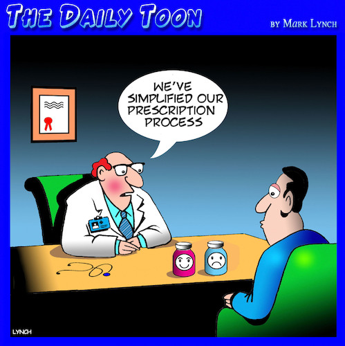 Cartoon: Medical prescriptions (medium) by toons tagged doctor,prescriptions,smiley,face,uppers,downers,doctor,prescriptions,smiley,face,uppers,downers