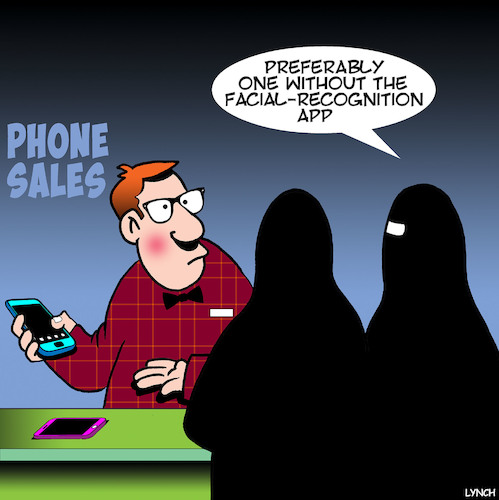 Cartoon: New iPhones (medium) by toons tagged iphone,burka,facial,recognition,apps,smartphones,iphone,burka,facial,recognition,apps,smartphones