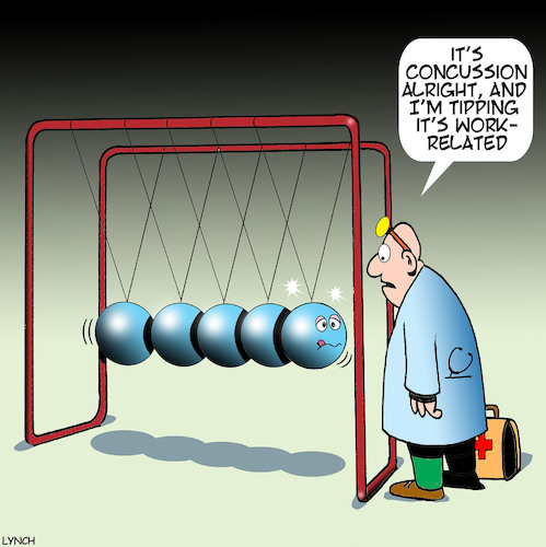Cartoon: Newtons cradle (medium) by toons tagged concussion,newtons,cradle,work,related,injury,compensation,head,concussion,newtons,cradle,work,related,injury,compensation,head