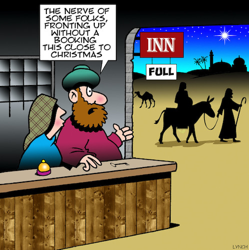 Cartoon: No room at the Inn (medium) by toons tagged bethlehem,nativity,scene,christmas,birth,of,jesus,inn,xmas,mary,and,joseph,immaculate,conception,trip,advisor,bethlehem,nativity,scene,christmas,birth,of,jesus,inn,xmas,mary,and,joseph,immaculate,conception,trip,advisor