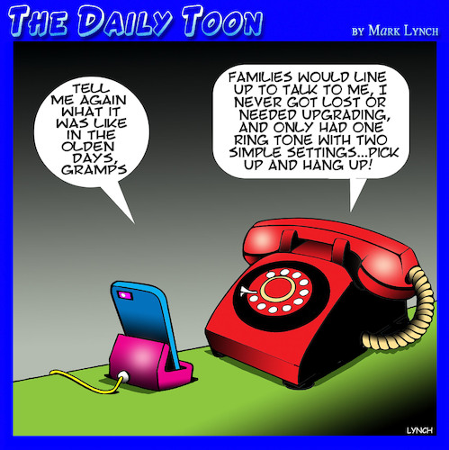 Cartoon: Old phone (medium) by toons tagged smartphones,old,phones,grandpa,olden,days,smartphones,old,phones,grandpa,olden,days
