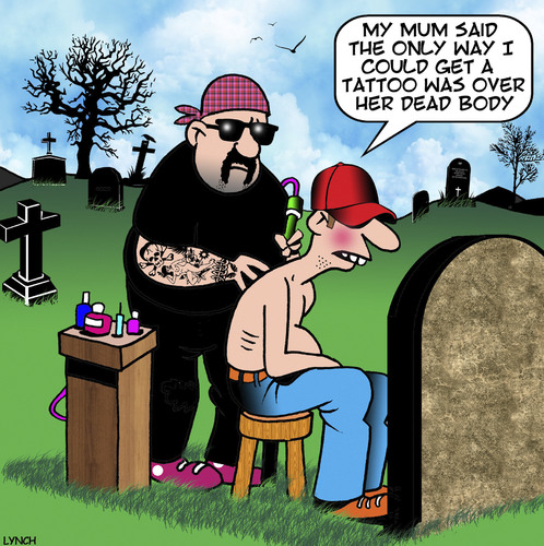 Cartoon: Over my dead body (medium) by toons tagged tattoos,cemetery,tattooist,bikie,tattoos,cemetery,tattooist,bikie