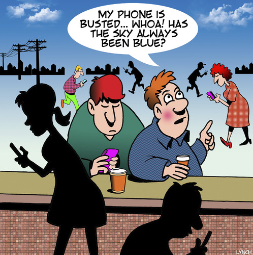 Cartoon: Phone addiction (medium) by toons tagged smart,phones,phone,addiction,blue,skies,staring,at,your,smart,phones,phone,addiction,blue,skies,staring,at,your