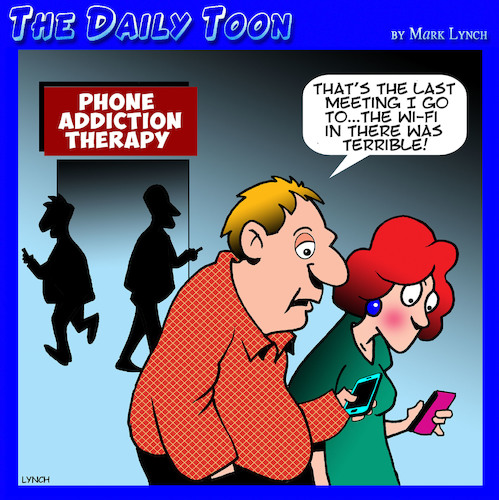 Cartoon: Phone addiction (medium) by toons tagged phone,addiction,wi,fi,therapy,classes,aa,bad,reception,smart,phones,staring,at,addictions,phone,addiction,wi,fi,therapy,classes,aa,bad,reception,smart,phones,staring,at,addictions
