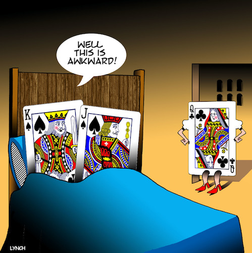 Cartoon: Playing up cards (medium) by toons tagged playing,cards,royalty,infidelity,royal,flush,queen,and,king,playing,cards,royalty,infidelity,royal,flush,queen,and,king