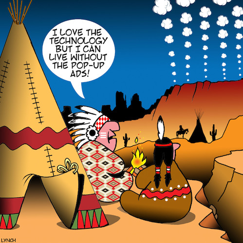 Cartoon: Pop up ads (medium) by toons tagged smoke,signals,pop,up,ads,american,indians,messaging,advertising,history,smoke,signals,pop,up,ads,american,indians,messaging,advertising,history