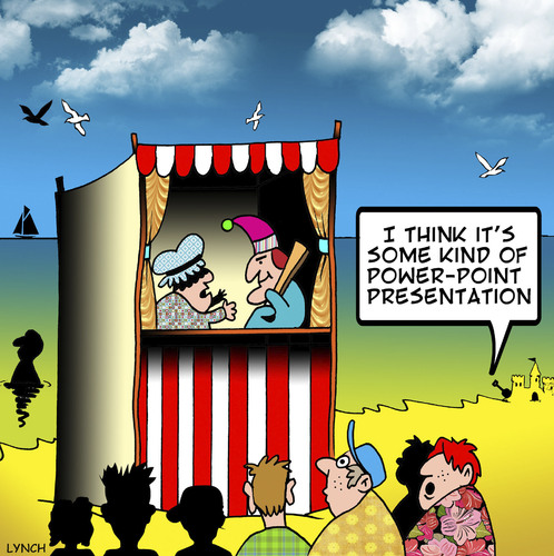 Cartoon: PowerPoint presentation (medium) by toons tagged powerpoint,punch,and,judy,puppets