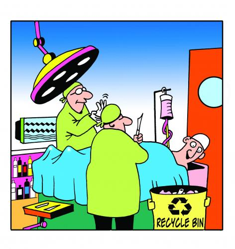 Cartoon: recycle bin (medium) by toons tagged doctors,hospitals,operations,illness,environment,ecology,greenhouse,gases,pollution,earth,day,
