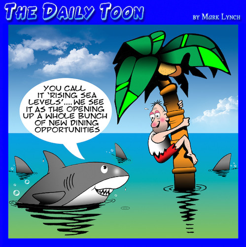Cartoon: Rising sea levels (medium) by toons tagged sharks,cuisine,global,warming,sea,levels,melting,ice,caps,shark,attack,sharks,cuisine,global,warming,sea,levels,melting,ice,caps,shark,attack