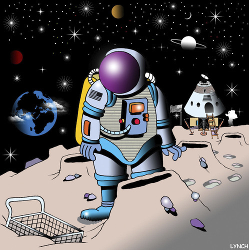 Cartoon: shopping trolley (medium) by toons tagged shopping,trolley,tesco,supermarket,malls,space,astronaut,spacecraft,rockets,nasa,the,universe,galaxy,planets