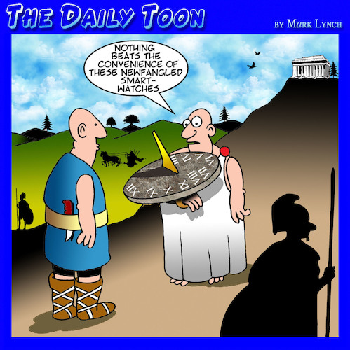 Cartoon: Smart watch (medium) by toons tagged sun,dial,smart,watch,iphone,ancient,greece,time,piece,clocks,sun,dial,smart,watch,iphone,ancient,greece,time,piece,clocks