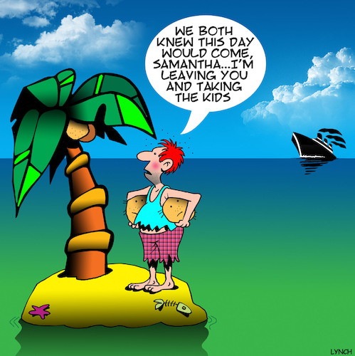 Cartoon: Taking the kids (medium) by toons tagged desert,island,separation,coconuts,rescue,ship,desert,island,separation,coconuts,rescue,ship