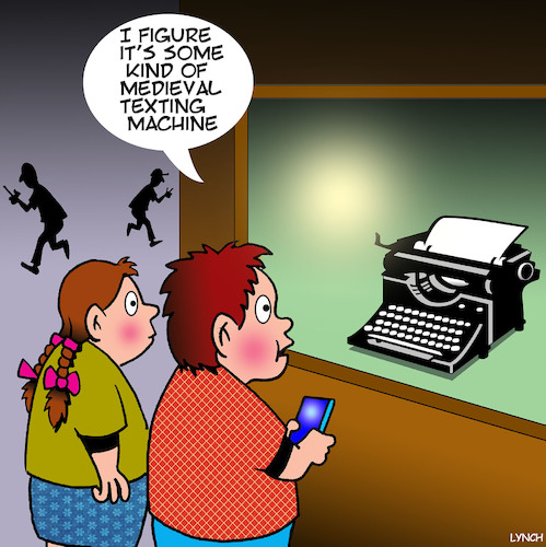 Cartoon: Texting (medium) by toons tagged texting,typewriters,medieval,times,ancient,communicating,texting,typewriters,medieval,times,ancient,communicating