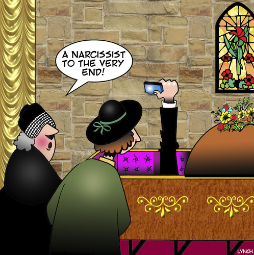 Cartoon: The Narcissist (medium) by toons tagged selfie,narcissism,show,off,funeral,parlor,coffin,widow,selfie,narcissism,show,off,funeral,parlor,coffin,widow