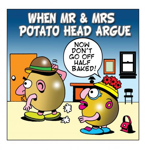 Cartoon: the potato heads (medium) by toons tagged potato,heads,arguements,relationships,marriage,dispute,potatos,half,baked,ideas,french,fries,chips