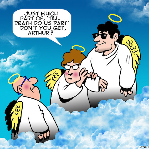 Cartoon: till death do we part (medium) by toons tagged heaven,afterlife,till,death,do,we,part,handsome,stud,angels,heaven,afterlife,till,death,do,we,part,handsome,stud,angels