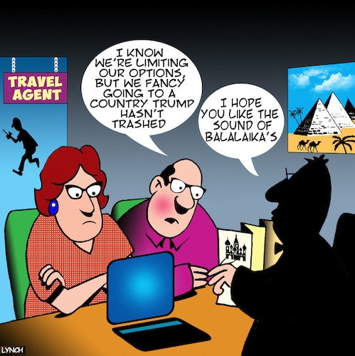 Cartoon: Travel agent (medium) by toons tagged trump,and,russia,holidays,balalaikas,music,moscow,trump,and,russia,holidays,balalaikas,music,moscow