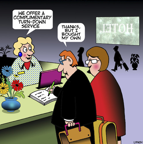 Cartoon: Turn down service (medium) by toons tagged hotel,check,in,husband,refused,marriage,relationships,love,complimentary,turn,down,service,motels,accommodation,hotel,check,in,husband,refused,sex,marriage,relationships,love,complimentary,turn,down,service,motels,accommodation