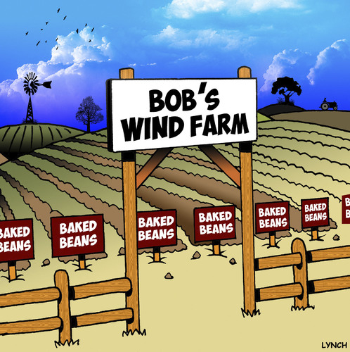 Cartoon: Wind farm cartoon (medium) by toons tagged wind,farms,baked,beans,flatulence,farting,farming,methane,gas,wind,farms,baked,beans,flatulence,farting,farming,methane,gas