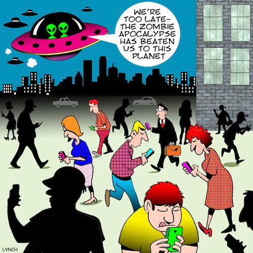 Cartoon: Zombie Apocalypse (medium) by toons tagged smart,phones,phone,addiction,zombies,apocalypse,aliens,flying,saucers,staring,at,smart,phones,phone,addiction,zombies,apocalypse,aliens,flying,saucers,staring,at