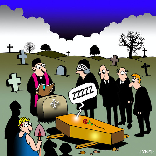Cartoon: ZZZZZ (medium) by toons tagged funeral,cemetary,priest,sleeping,coffin,mourners