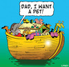 Cartoon: a pet (small) by toons tagged noahs,ark,history,animals,pets,religion,god,bible,ships,vet,old,testament