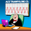 Cartoon: Ace trampoline Co (small) by toons tagged trampoline pogo stick charts sales bounce spring laptop economy exercise business