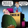 Cartoon: Airline check in (small) by toons tagged obesity,too,fat,overweight,airline,travel,budget,check,in,counter,two,seats,together