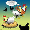 Cartoon: Biological clock (small) by toons tagged chickens,pregnant,biological,clock,birth,hatching,parenthood,roosters,chooks,eggs,clucky