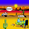 Cartoon: Bummer (small) by toons tagged restaurant,dining,desert,island,food,drinks,marooned,reserved,signs,disappointment,cafe,snack,waiters