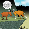 Cartoon: Concussions (small) by toons tagged concussion,mountain,goats,butting,heads,romance,animals