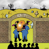 Cartoon: exit (small) by toons tagged funerals,cemetary,coffin,corpse,exit,sign