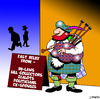 Cartoon: fast relief (small) by toons tagged bag,pipes,spouse,music,scottish,relief,headache,zealots,in,laws,bill,collector