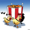 Cartoon: Funeral for a friend (small) by toons tagged fried,chicken,funerals,kentucky,chooks,hens,bucket,of,farm,animals,take,away,food,fast,junk